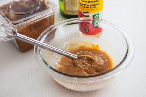 Miso sauces are mixed well