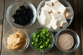 ingredients for Japanese seaweed soup