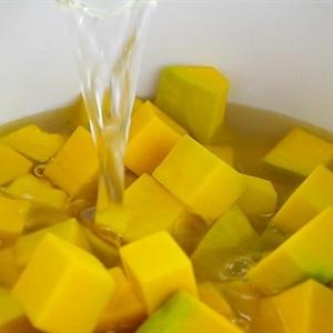 cut pumpkin and pour the broth