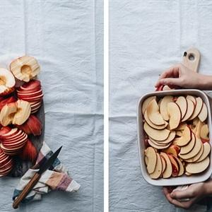 cut apples into thin slices