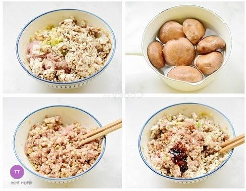 mix minced pork with mushrooms and other ingredients