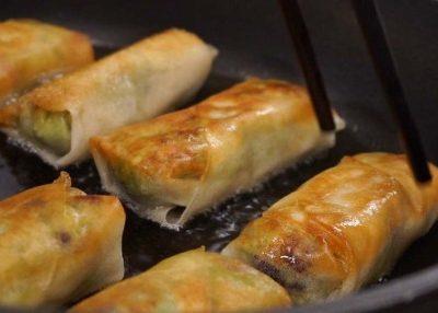 fry spring rolls