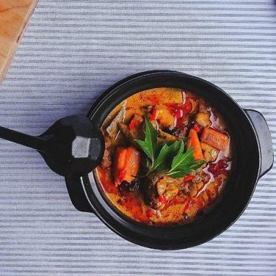 curry with duck, sweet potato, and carrot