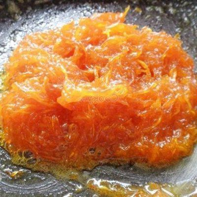 add orange peel into the pan