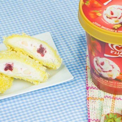 fried strawberry cheese ice cream