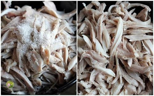 cook and cut chicken into thin pieces
