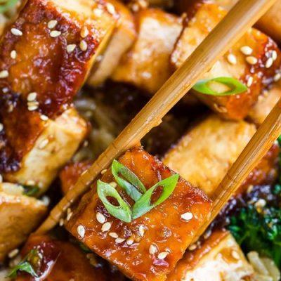 tofu with garlic and honey sauce