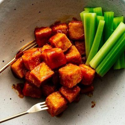 baked tofu cooked with chili sauce