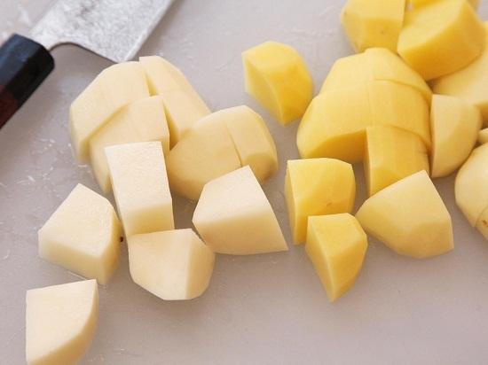 cut potato and cassava