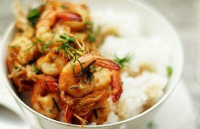 shrimps roasted with butter and garlic