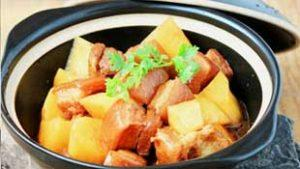 how to make pork belly simmered with potatoes