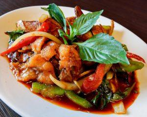 Stir-Fried Catfish with Spicy Red Curry Paste