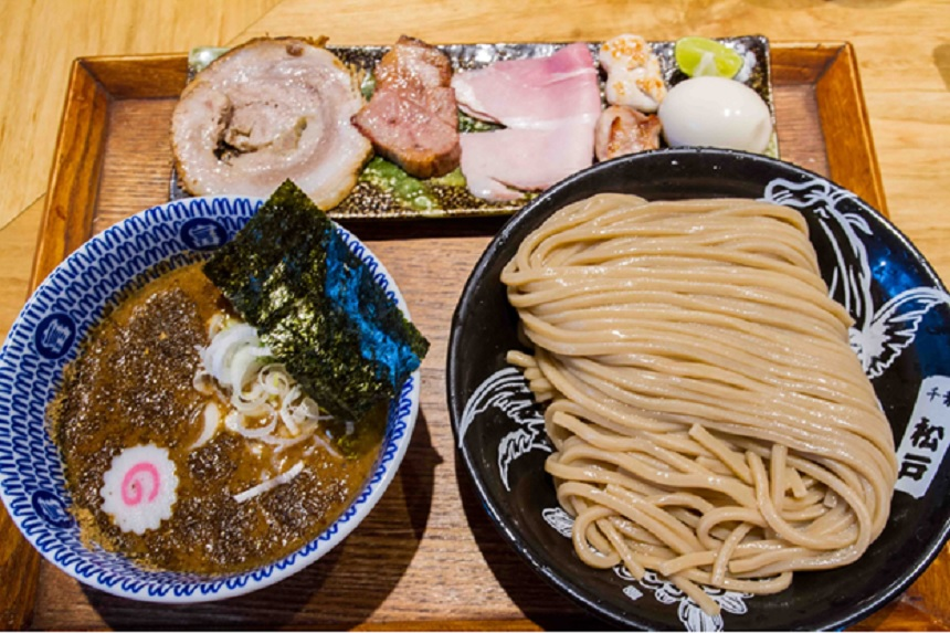What makes Tsukemen outstanding is its thick, chewy noodles